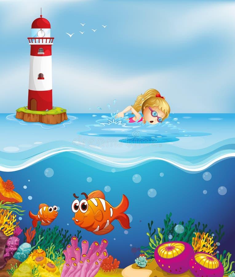 Een meisje die dichtbij de vuurtoren zwemmen vector illustratie