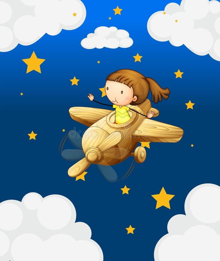 Een meisje die in een houten vliegtuig berijden royalty-vrije illustratie