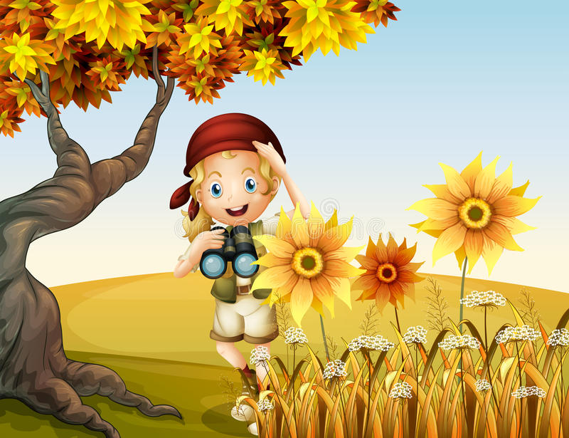 Een meisje die een telescoop houden dichtbij de zonnebloemen royalty-vrije illustratie