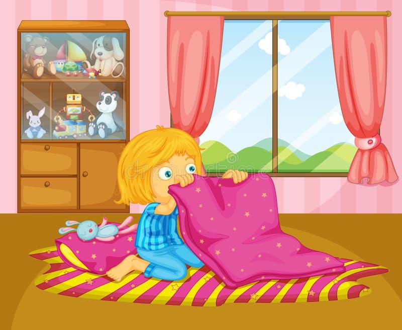 Een meisje die haar deken vouwen stock illustratie