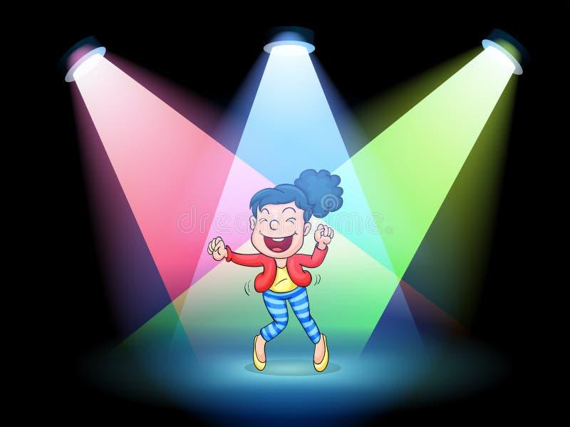 Een meisje die in het midden van het stadium dansen royalty-vrije illustratie