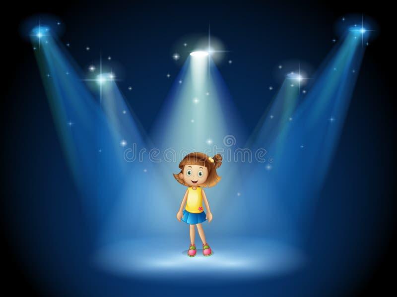 Een meisje die in het midden van het stadium onder de schijnwerpers glimlachen royalty-vrije illustratie