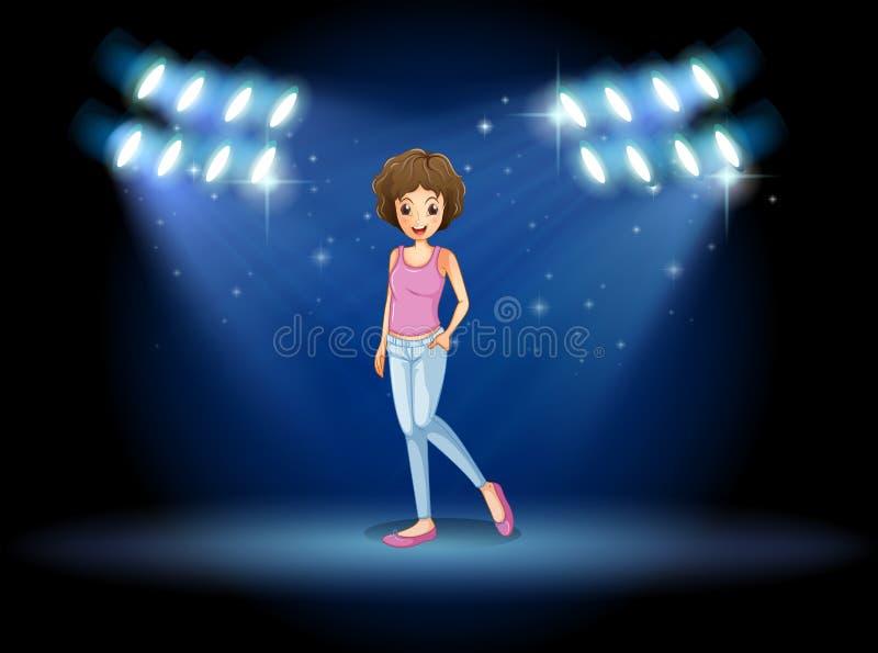 Een meisje die in het midden van het stadium presteren stock illustratie