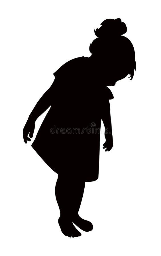 Een meisje die, lichaamssilhouet neer kijken vector illustratie