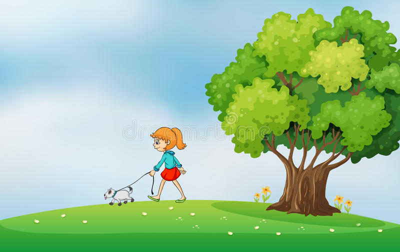 Een meisje die met haar hond bij de heuveltop lopen vector illustratie