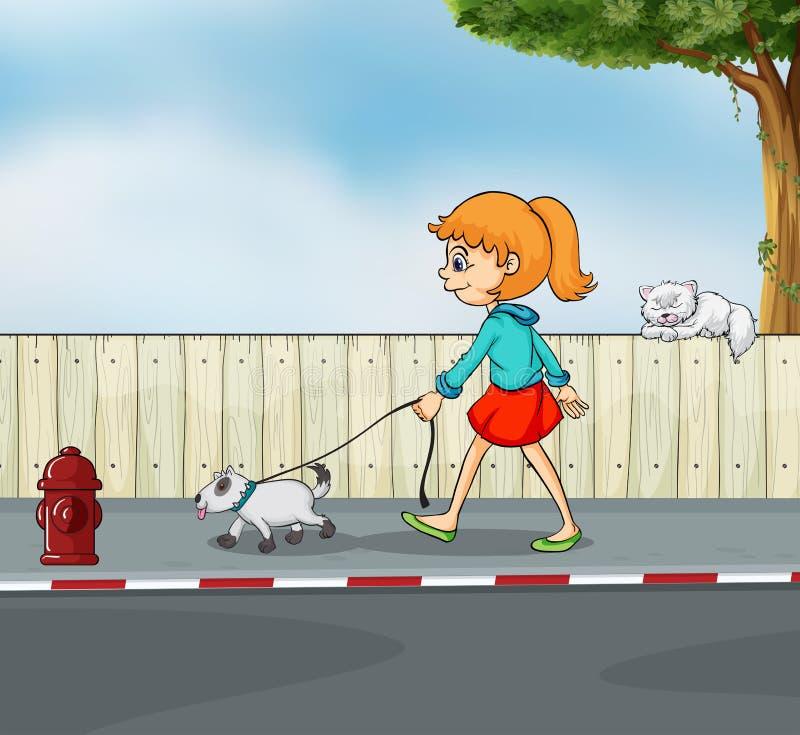 Een meisje die met haar huisdier wandelen vector illustratie