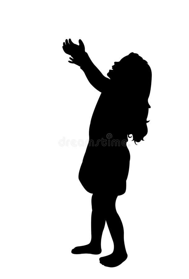Een meisje die op de vector van het lichaamssilhouet kijken stock illustratie