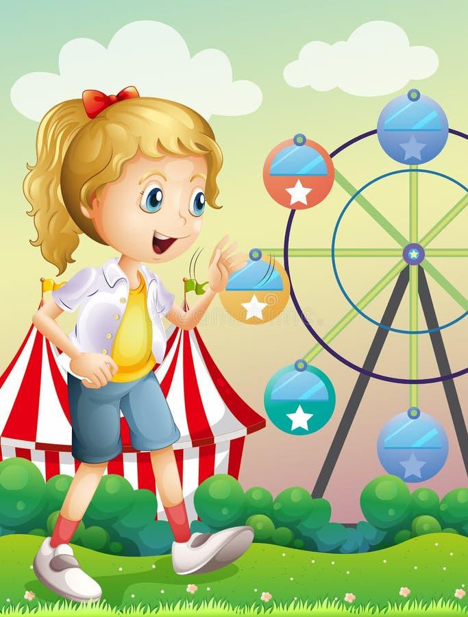 Een meisje die over Carnaval lopen stock illustratie