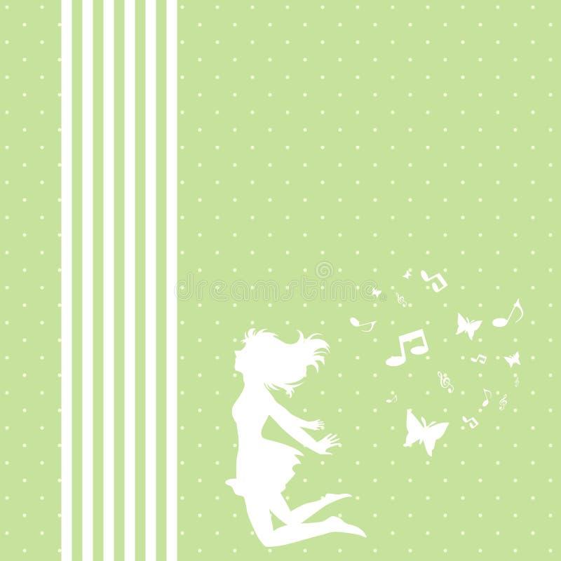 Een Meisje die, Plezier, Muziek, Groen Gras vliegen royalty-vrije illustratie