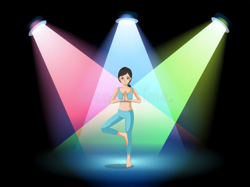 Een meisje die yoga in het midden van het stadium doen vector illustratie