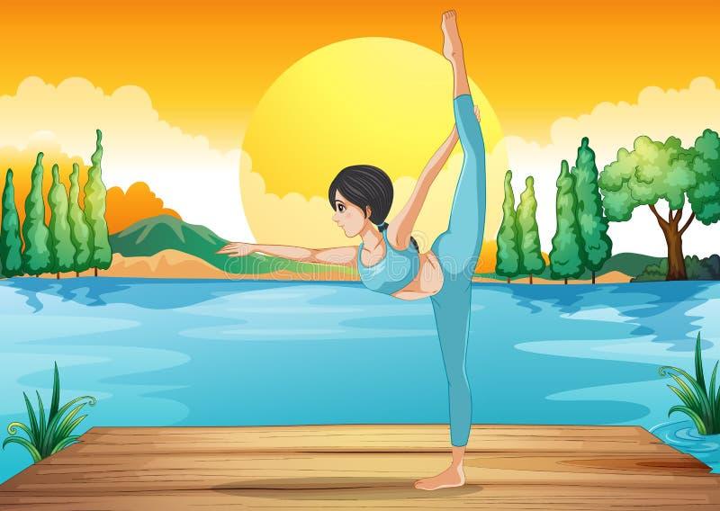 Een meisje die yoga langs de rivier in een zonsonderganglandschap uitvoeren stock illustratie