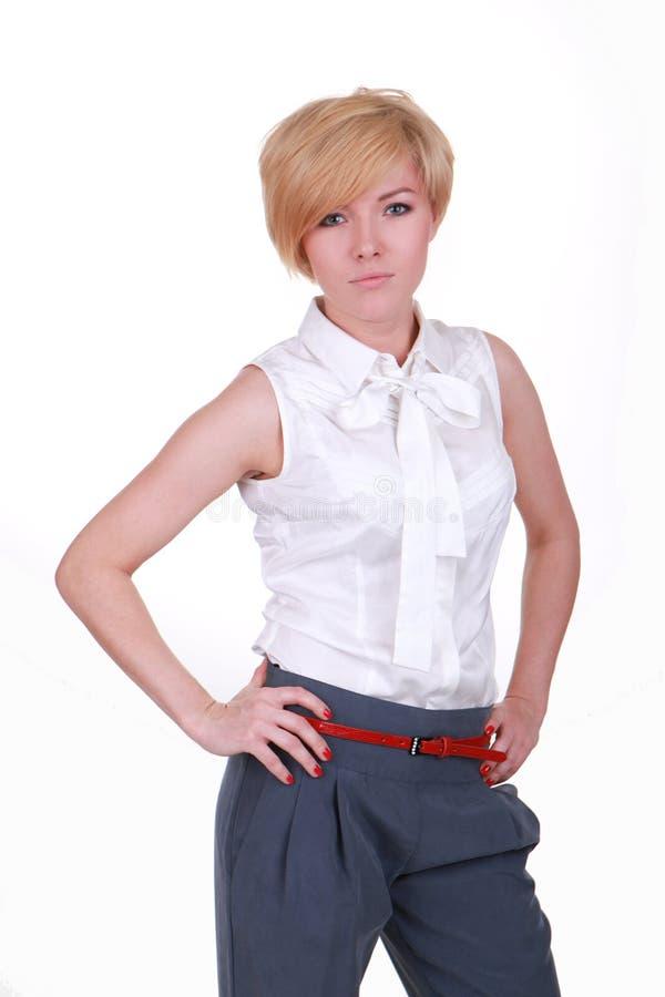 Een meisje in een witte blouse royalty-vrije stock afbeeldingen