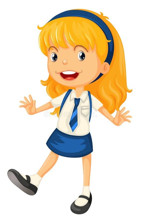 Een meisje in eenvormige school vector illustratie