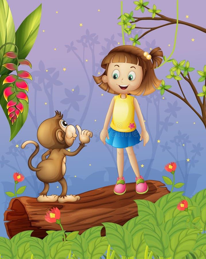 Een meisje en een aap in het bos royalty-vrije illustratie