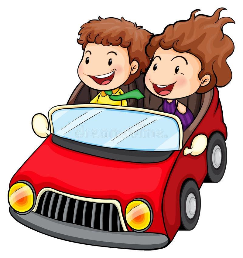 Een meisje en een jongen die in de rode auto berijden vector illustratie