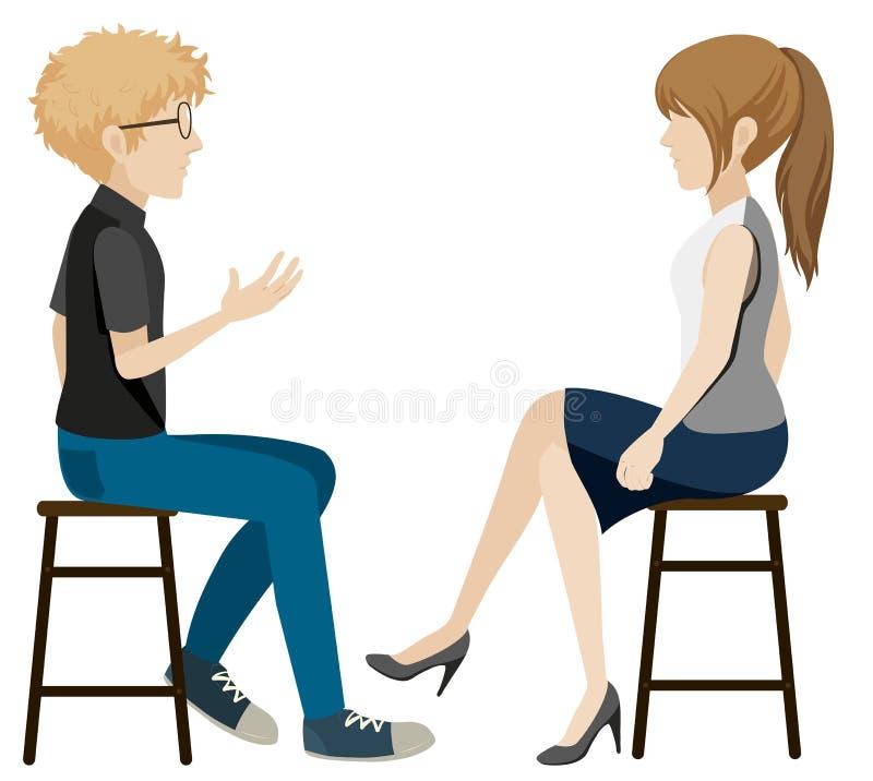 Een meisje en een jongen die zonder gezichten spreken stock illustratie