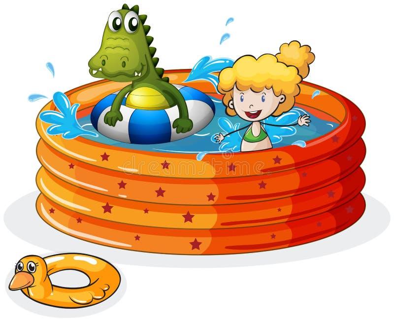 Een meisje en een krokodil die binnen de opblaasbare pool zwemmen stock illustratie