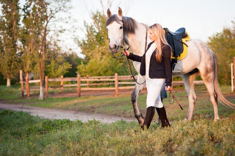 Een meisje en een paard stock afbeelding