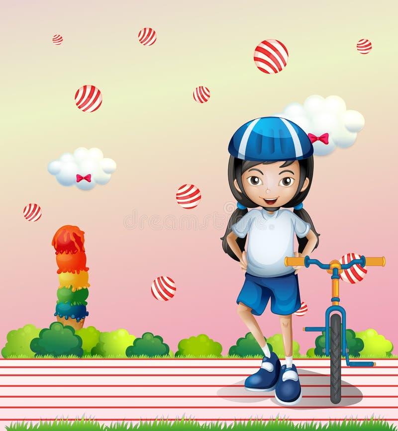 Een meisje en haar fiets vector illustratie