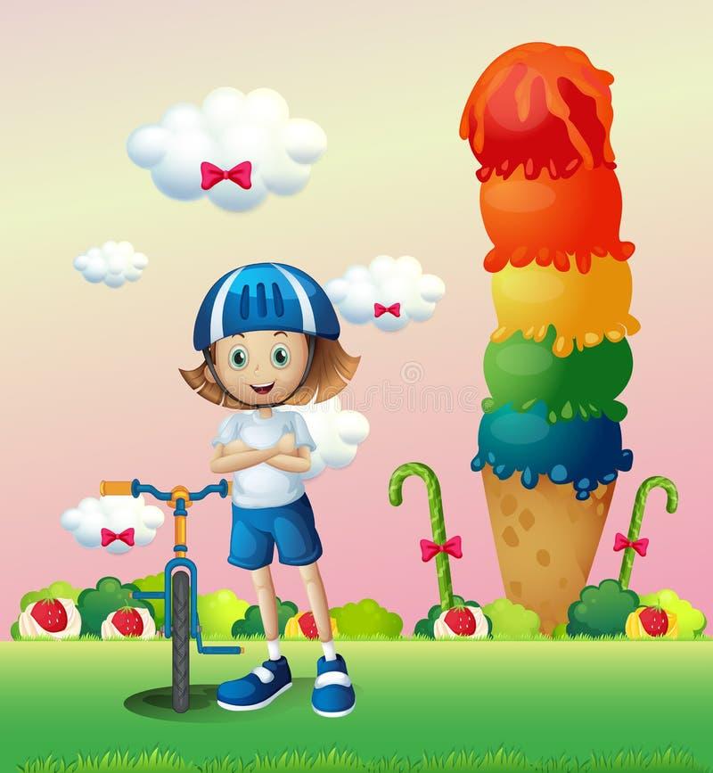 Een meisje en haar fiets in candyland stock illustratie