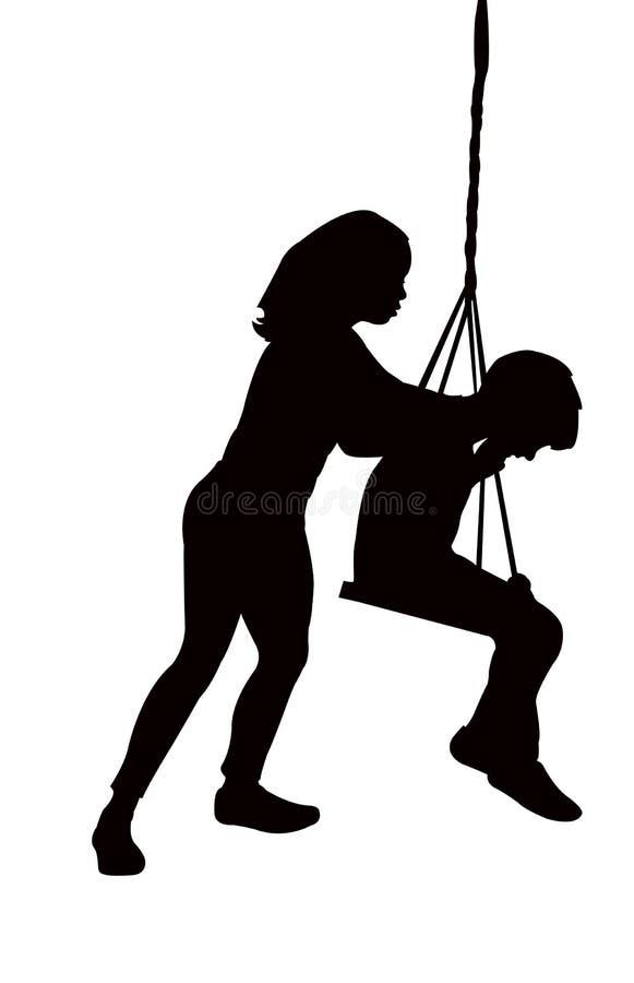 Een meisje en een jongen op schommeling, de vector van het lichaamssilhouet vector illustratie