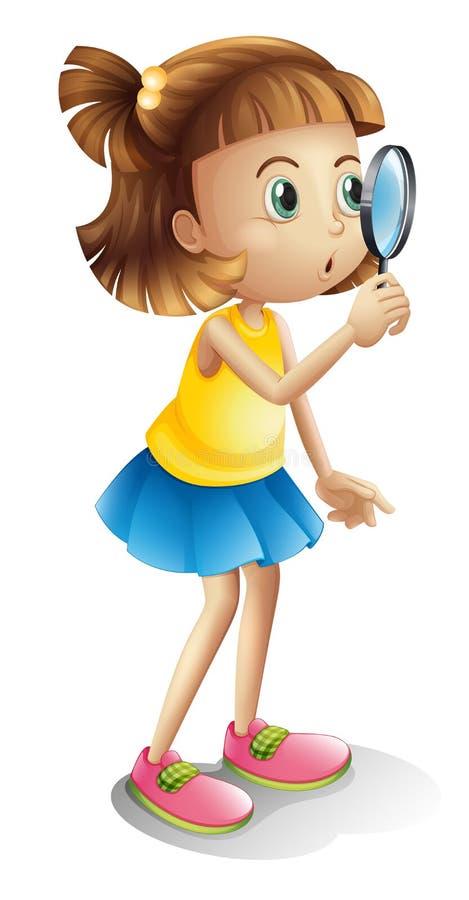 Een meisje en meer magnifier stock illustratie