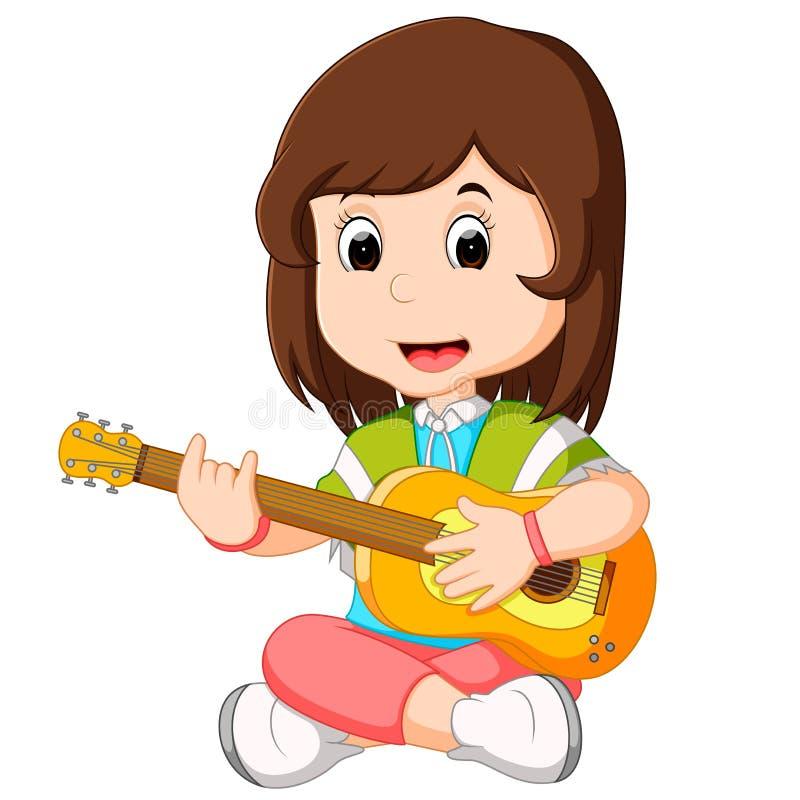 een Meisje het Spelen Gitaar royalty-vrije illustratie