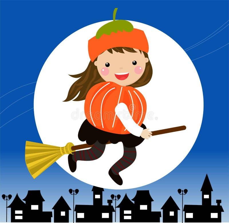 Een meisje kleedde zich in een heksenkostuum voor Halloween en het berijden van een bezemsteel vector illustratie