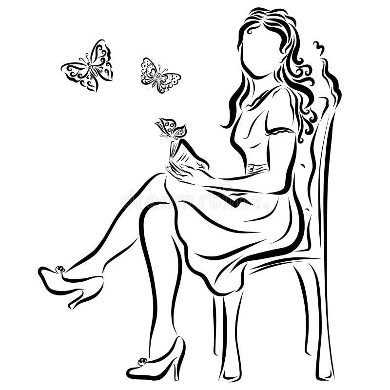 Een meisje leest een romantisch boek of een fantasie stock illustratie