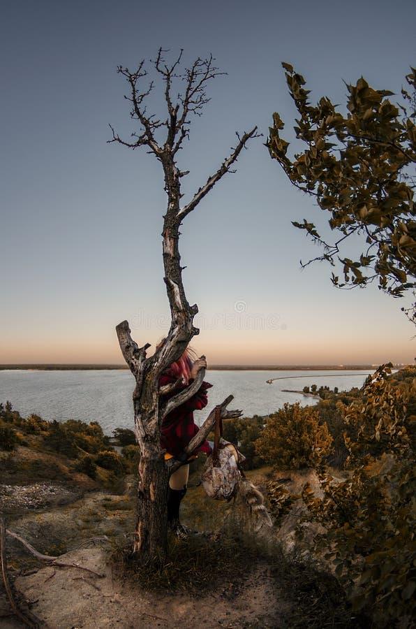 Een meisje met de eenzame boom royalty-vrije stock fotografie