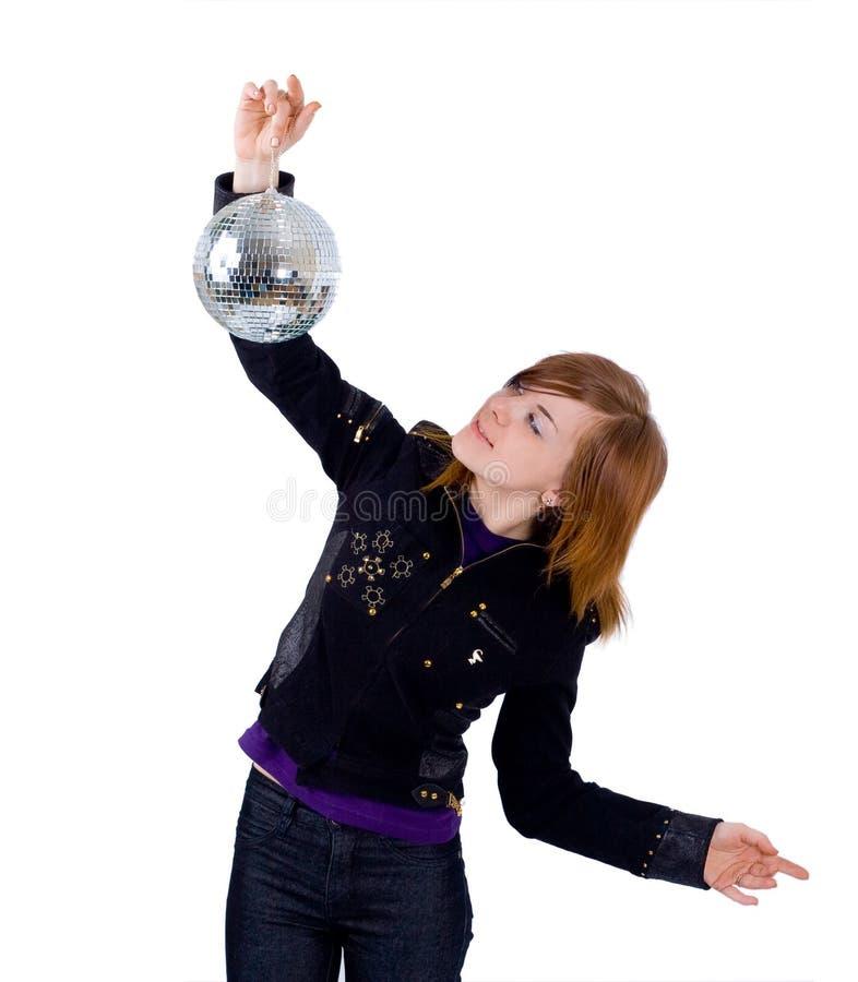 Een meisje met een glitterball stock foto's