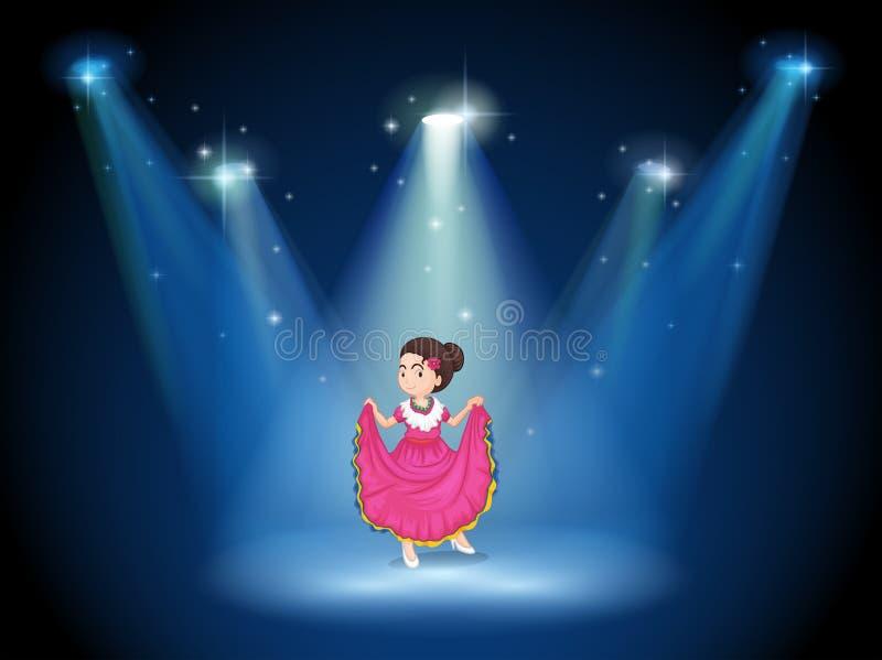 Een meisje met een roze lange kleding die zich in het midden van het mannetje bevinden stock illustratie