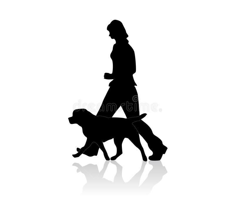 Een meisje met haar hond op de gang vector illustratie