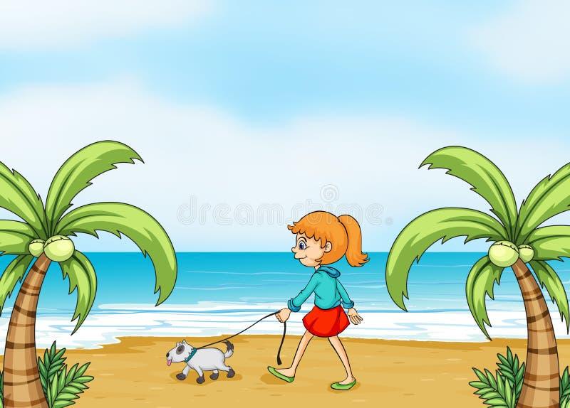 Een meisje met hond het lopen royalty-vrije illustratie