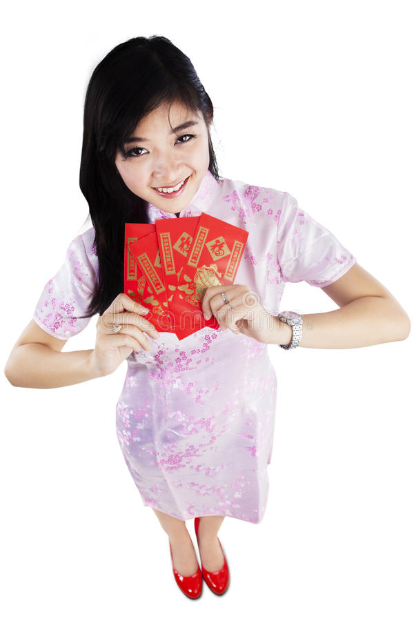 Een meisje met rode zakgift royalty-vrije stock foto