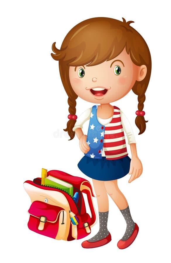 Een meisje met schooltas stock illustratie