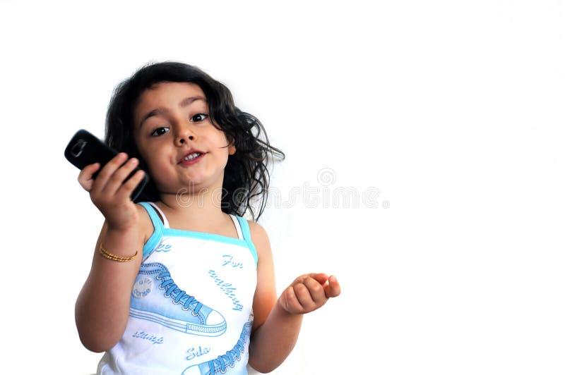 Een meisje met telefoon royalty-vrije stock foto