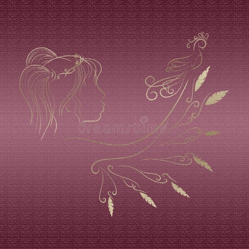 Een meisje met een vleugel en een bevallige vogel royalty-vrije stock afbeeldingen