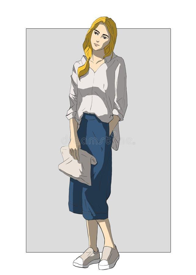 Een meisje met een zak van handtassen, zak met haar handen stock afbeelding