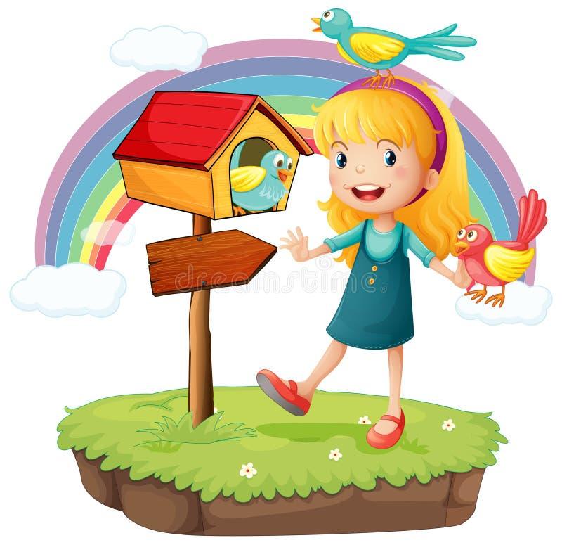 Een meisje naast een houten brievenbus met drie vogels vector illustratie