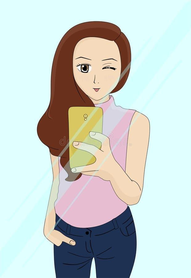 Een meisje neemt een beeld op de spiegel stock illustratie