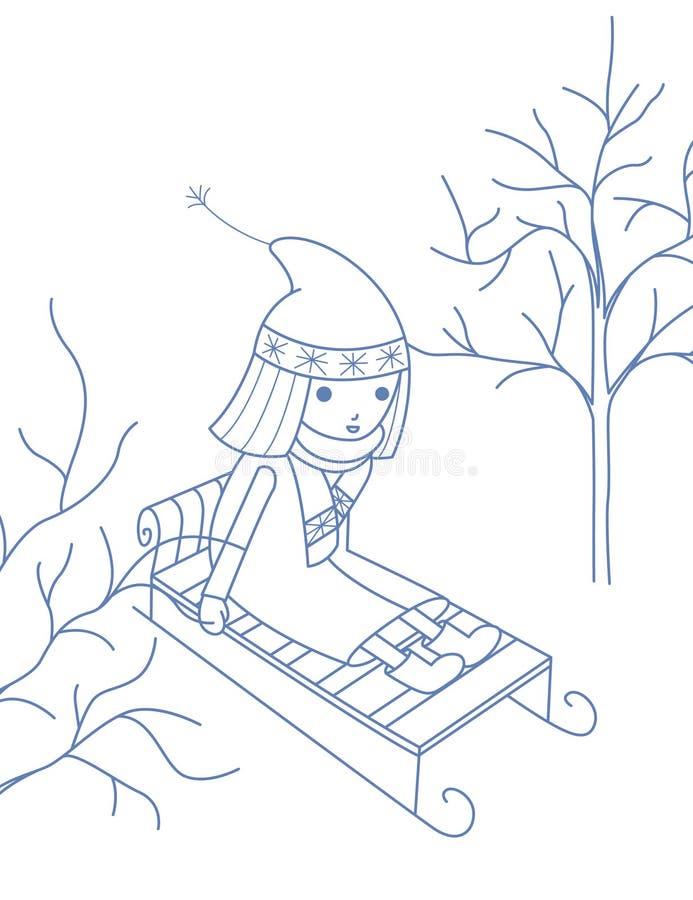 Een meisje op een slee stock illustratie