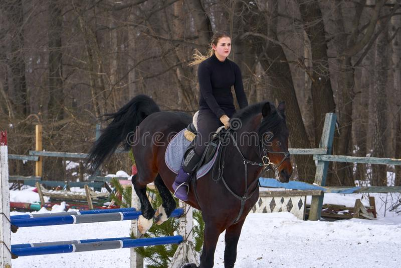 Een meisje op een paard springt over de barrière De jockey die van het opleidingsmeisje een paard berijden Een bewolkte de winter royalty-vrije stock fotografie