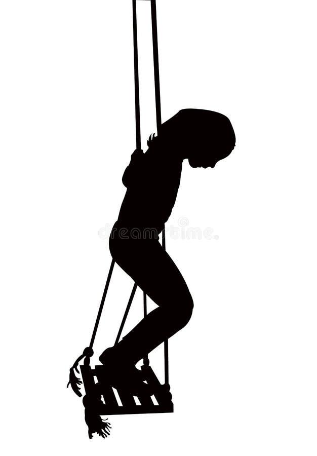 een meisje op schommeling, de vector van het lichaamssilhouet stock illustratie