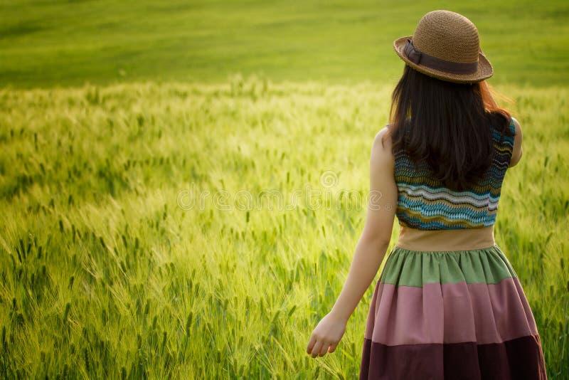 Een meisje op tarwegebied stock foto's