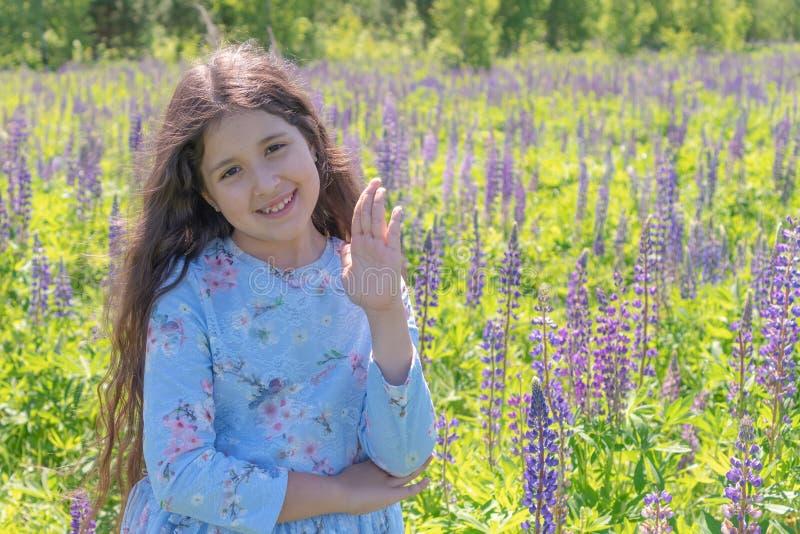Een meisje in een purpere kleding hief haar hand op die, die en de camera tegen de achtergrond van een gebied van lupines glimlac royalty-vrije stock afbeelding