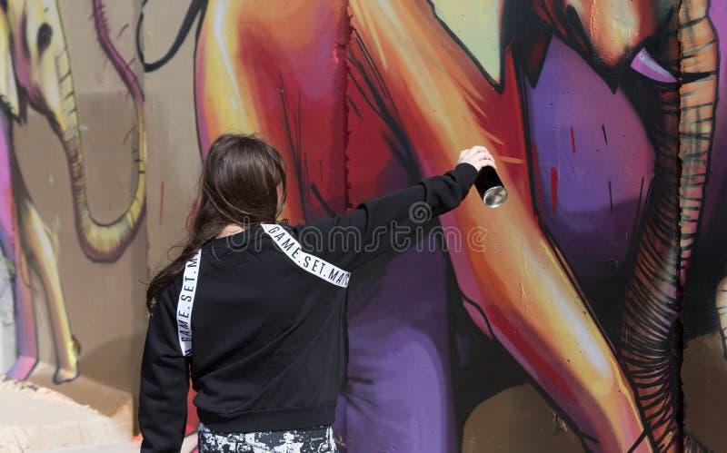 Een meisje schildert een beeld met een kleurennevel op een concrete veiligheidsomheining op de grens tussen Israël en Libanon royalty-vrije stock foto's