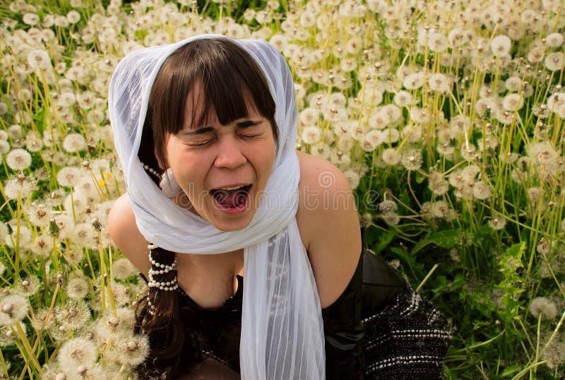 Een meisje voelde een kietelend gevoel van paardebloemen stock afbeelding