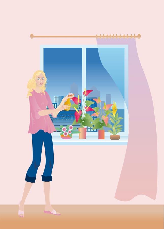 Een meisje ziet aan de huisinstallaties stock illustratie