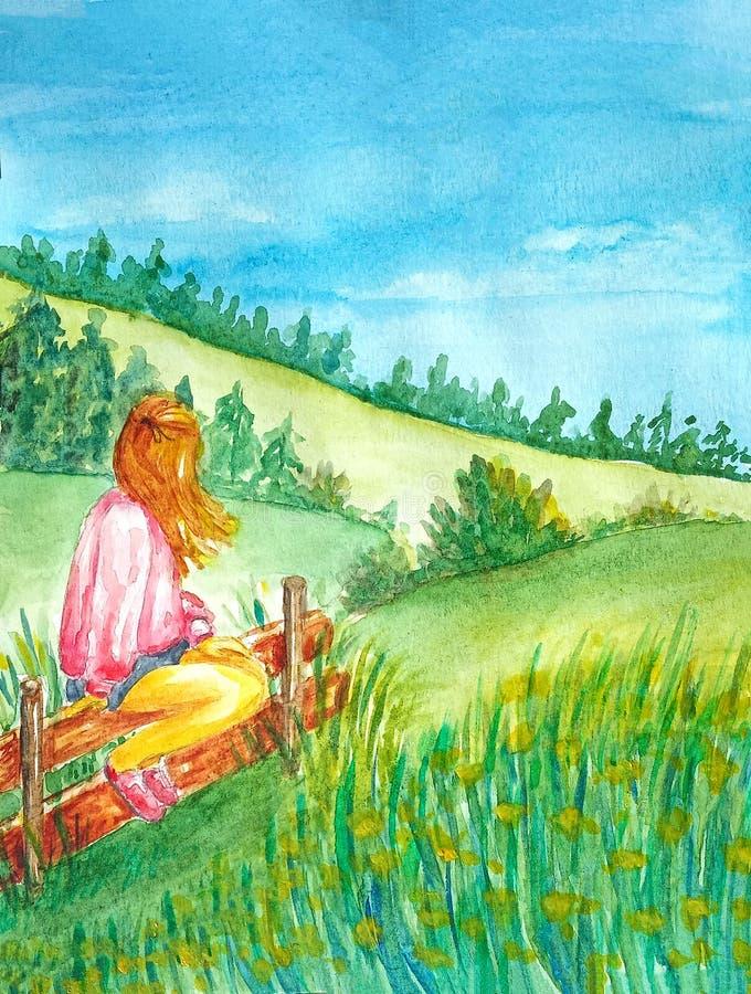 Een meisje zit op de omheining en geniet van het landschap van de heuvels met het bos stock illustratie